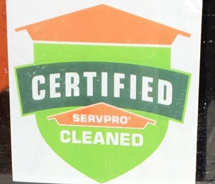 Photo shows sticker of Certified: SERVPRO Cleaned Logo